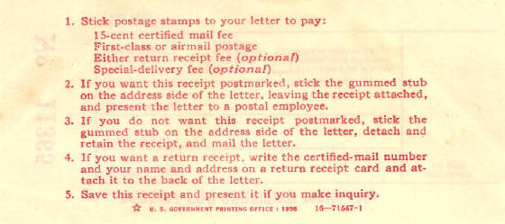 Instructions Certified Mail 1955