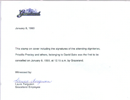 Graceland FDC Letter of Authenticity
